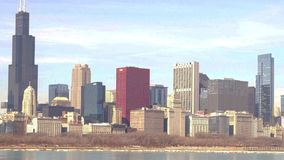 Chicago lakefront skyline stock footage