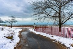 Chicago Lakefront Trail heading towards Lake Michigan in the Winter royalty free stock photos
