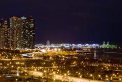 Chicago Lakeshore alla notte immagine stock libera da diritti