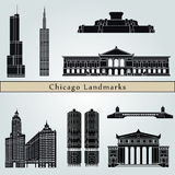 Chicago landmarks and monuments. On blue background in editable vector file Royalty Free Stock Photo