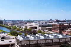 Chicago landscape view from a building roof royalty free stock image
