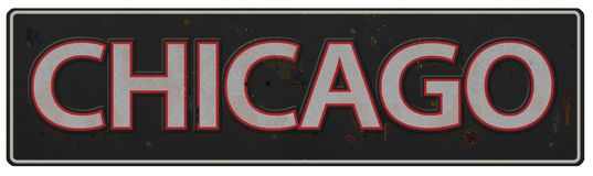 Chicago Lettering Sign Street Old Vintage CHI. Cubs white sox bears metal tin stock illustration
