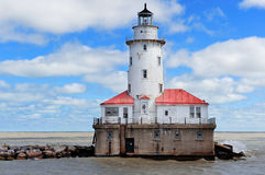 Chicago Light House. Light House of Chicago in Lake Michigan with cloud and blue sky Royalty Free Stock Images