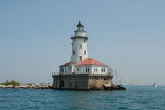 Chicago Light House. Sailing past this great light house prior to the 2014 Chicago Mackinaw race Stock Images