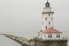 Chicago Lighthouse. Lighthouse on Lake Michigan in the rain Stock Images