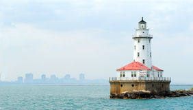 Chicago Lighthouse with Skyline in Background Stock Image