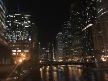 Chicago Lights. Lights on the Chicago River downtown stock photography