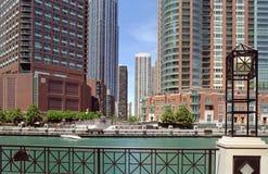 Chicago, Lllinois mieszkania kanałowy usa obraz stock