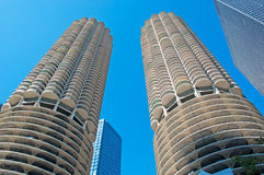 Chicago: looking up at Marina City building from a canal cruise on Chicago River stock images