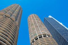 Chicago: looking up at Marina City building from a canal cruise on Chicago River on September 22, 2014 Royalty Free Stock Image