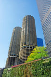 Chicago: looking up at Marina City building from a canal cruise on Chicago River on September 22, 2014 Stock Photography