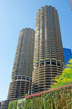 Chicago: looking up at Marina City building from a canal cruise on Chicago River on September 22, 2014 Stock Photo