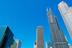 Chicago: looking up at skyline and Willis Tower from a canal cruise on Chicago River on September 22, 2014 Royalty Free Stock Photo
