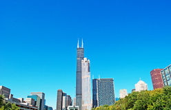 Chicago: looking up at skyline and Willis Tower from a canal cruise on Chicago River on September 22, 2014 Royalty Free Stock Image