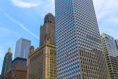 Chicago Loop Buildings. Chicago, USA - May 24, 2014: Facades of several skyscrapers in Downtown with different architectural styles Royalty Free Stock Photo