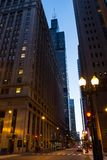 Chicago Loop downtown city street night scenery Stock Photos