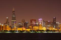 Chicago Loop viewed from the Adler Planetarium royalty free stock image