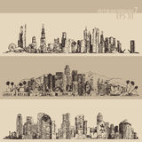 Chicago, Los Angeles, Houston Big City Engraved Royalty Free Stock Photo