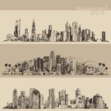 Chicago, Los Angeles, Houston Big City Engraved Royalty Free Stock Photo