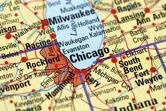 Chicago on the map Royalty Free Stock Photo