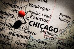 Chicago Map. Image of a map of Chicago with a red pushpin Stock Images