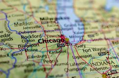 Chicago on map. Close up shot of Chicago Royalty Free Stock Image