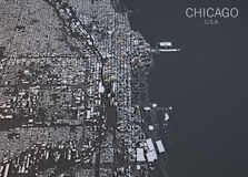 Chicago map, satellite view, United States Royalty Free Stock Photo