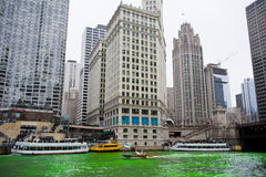 Dyeing of the Chicago River Royalty Free Stock Photo