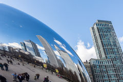 CHICAGO - MARCH 17: Cloud Gate in Millennium Park on March 17, 2 Stock Photo