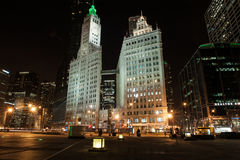 Wrigley Building at night Stock Images