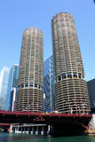 Chicago Marina City. Looking up from the Chicago River at the Marina City complex stock photography