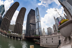CHICAGO  Marina City Complex, and Modern Buildings Royalty Free Stock Images