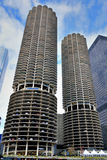 Chicago Marina Towers. Marina City Towers in Chicago city, beside Chicago river. Photo taken on: October 6th, 2014 Royalty Free Stock Photography