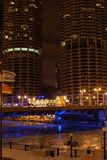 Chicago Marina Towers at Night. Chicago Buildings Over the River at Night Royalty Free Stock Photos