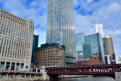 Chicago Merchandise Mart and city buildings. Merchandise Mart and city buildings,  Chicago, Illinois, United States Royalty Free Stock Images