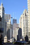 Chicago,Michigan Avenue. Michigan Avenue with view to Wrigley Building, Tribune Tower and Hancock Building in downtown Chicago as vertical image Stock Photo