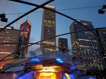 Chicago night scene. Chicago Millennium Park Pritzker pavilion concert scene Stock Photos