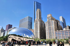 Chicago Millennium Park Slivery Bean and tourist Royalty Free Stock Image