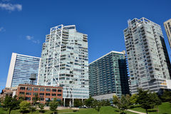 Chicago modern buildings beside Chicago river. City modern buildings beside around Chicago river at North Michigan Avenue and the Michigan Avenue. Chicago Stock Image