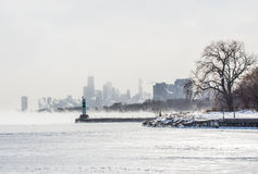 Chicago Montrose Harbor. Picture taken at Montrose harbor these winter with temperatures below zero Stock Images