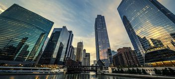 Chicago with morning light royalty free stock images