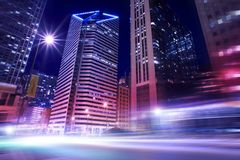 Chicago in Motion. Streets of Chicago in Motion. Chicago, Illinois City Illumination at Night. Famous Places Photo Collection Stock Images