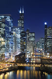 Chicago na noite. Fotografia de Stock Royalty Free
