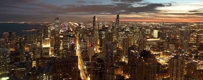 Chicago na noite Fotografia de Stock Royalty Free