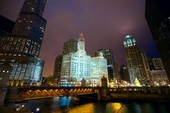 Chicago nachts Stockbild