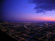 Chicago nachts, Luftaufnahme Stockfotos