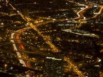 Chicago nachts von Willis Tower lizenzfreie stockfotografie