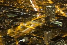 Chicago nachts von Willis Tower Stockbilder