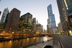 chicago nattflod Arkivbild