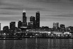 chicago natthorisont Arkivfoton
